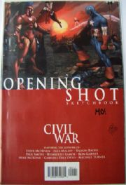 Civil War Opening Shot Sketchbook Dynamic Forces DF Signed Morry Hollowell COA